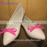 Nude Leather pointed toe with bow wholesale ladies flat shoes