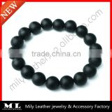 2014 New Design Matte Black Onyx Beaded Stone Bracelet MLAS-030