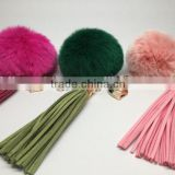 Factory Custom 8cm Rabbit fur ball keychain with heart charm leather tassel                                                                                                         Supplier's Choice