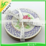 flower pattern round wooden cup mat beautiful coaster