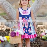 Newest Arrival Infant Toddler Girls Remake Boutique Outfits Adorable Floral Splice Ruffle Dress Wholesale