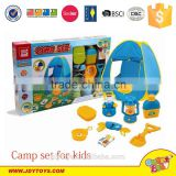Hot sale plastic camping playset toy with play tent for kids,outdoor camping tool play toy