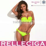 "RELLECIGA Woman Swimwear - Neon Green Bandeau Top with an Open ""V"" Wire at Center Front for Young Girls"