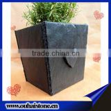 Cute&lovely heart shape decors black slate stone flower pots crafts