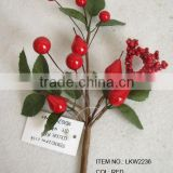"high quality newest special artificial holly leaf and foam red berry pick 10"" branches pick decoration in christmas"