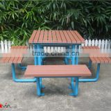 Powder coated metal and HDPE slats urban street furniture outdoor picnic table set