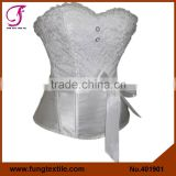 401901 Woman Satin Sexy Lace Wedding Shaper White Bridal Corset With Belt