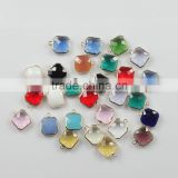 12mm Square Colorful Bulk Crystal Pendant Connector Faceted Stone Connectors for Jewelry Making