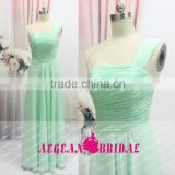 K125 one shoulder green chiffion a line floor length cheap chiffion bridesmaid dress