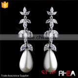 Factory Directly Wedding Pearls Earring Elegant Antique Silver Ivory Pearl Drop & Clear CZ Crystal Bridal Earrings