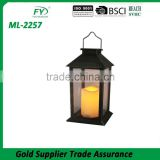 Made in China wholesale cheap led light plastic solar lantern with metal handle for outdoor decoration