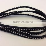 Flat leather with Studs -real nappa leather flat with cristal strass-6mm-black