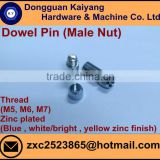 Male Nut/ Dowel Pin (for Furniture) with Bright(White)/Blue/Yellow Zinc Plated; M5, M6, M7