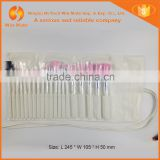 2015 Top quality 20pcs pink color nylon hair white wood handle in white PU bag brush makeup set