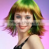 Wholesale synthetic dye ombre green color hair cosplay wigs