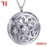 Fashion jewelry 316 stainless steel crystal locket pendant, coin pendant essential oil pendant