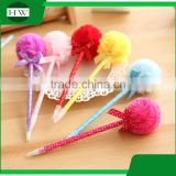 promotional wholesale cheap funny school office stationery mini plastic rainbow hair ball roller ball point pen