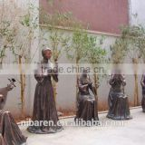 Cast Bronze Garden Ancient Plying Music Decoration Sculpture