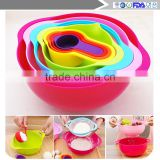 8Pcs/Set Multifunctional Kitchen Rainbow Bowl Measuring Spoon Cup Filter Drain Mixing Salad Food Baking Tools