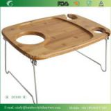 Folding Stainless Steel Legs Bamboo Material Serving Board Tray
