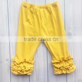 Hot sale mustard triple ruffle capris boutique icing legging pants sew sassy style leggings pants