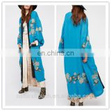 Blue Floral Embroidery Plus Size Kimono Robe With Long Sleeve On Sale