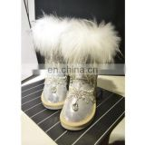 Aidocrystal ladies faux fur Handmade Rhinestone warm half boot winter snow boots with crystals