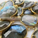 Labradorite Sterling Silver Bezel Gemstone Connectors/Gold plated gemstone jewelry connector/Black rainbow gemstone connector