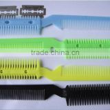 Alibaba Wholesale Hair Comb Stainless Steel Blade Double-side Plastic Fashion Hair Cutting Razor Comb for Hair