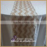 TR070B Jenny Bridal customized champagne and white sequin fabric chevron table runner                                                                         Quality Choice