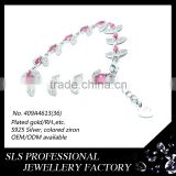 Cheap price rhodium plated fashion Lobster Clasp with chain for ladies 925 silver sapphire ruby bracelet