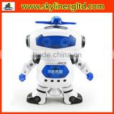 Dance space robot with infrared light music,360 degree rotating electric toy for children