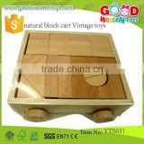 Hot Sale Beechwood Material Kids Toys Natural Block Cart- Vintage Toys