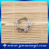 Metal alloy silver color rhinestone nose ring nose hoop decorations O 50