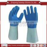 Seeway Anti-chemical Work Gloves Cotton Lining Longer Cuff with Foam Latex Coated on Palm and Back