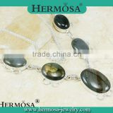 Hermosa Jewelry 2015 Xmas Luxury Natural Stone Oval Labradorite Women Accessories Necklace H775