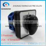 Rotary switch YMW26-25/1 selector changeover cam switch 25A 690V 3 positons 1 section 4 terminals sliver contact