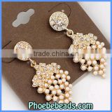 Wholesale New Arrival Fashion Crystal & Faux Pearl Dangle Earrings CE-D001