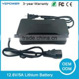 12.6V 5A Power Tool Lithium ion Battery Charger for Electric Vehicle Scooter Solar 3S Charger Black