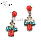 Red crystal long drop earrings gold plated colorful dangle earrings for women 2015 geometric series female brinco