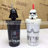 custom only:200 ml, 400ml plastic mug cup topper figures,customized cartoon cup topper figures for promotion