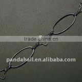 Handmade Brass Chains, Black Color, about 10x10~25x1mm; Link: 1.2x7.5x3mm(CH223-ZDC1-B)