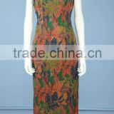 Printed Silk Sation Sleeveless Fashion Cheongsam / Qipao with Hand Made Traditional Chinese Knots QP0008