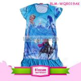 Hot sale wholesale turquoise cotton frozen elsa anna baby dress cutting