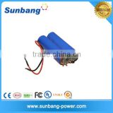 Cylindrical type 7.4V 1500mah 18650 battery pack for christmas lights