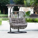 Outdoor kid double swing chair, rattan hammock, cheap outdoor hanging chair