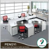 Lastest design office furniture steel knock down metal 4 people office desk