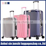 brand aluminum luggage new design plastic frame pure pc luggage and bags 3 piece trolley luggage set