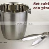 Stainless Steel Ice Bucket with Ice Tong / Cubitera Inox. Con Pinzas Set