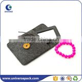 Fashion fancy custom felt jewelry gift bag with button closure